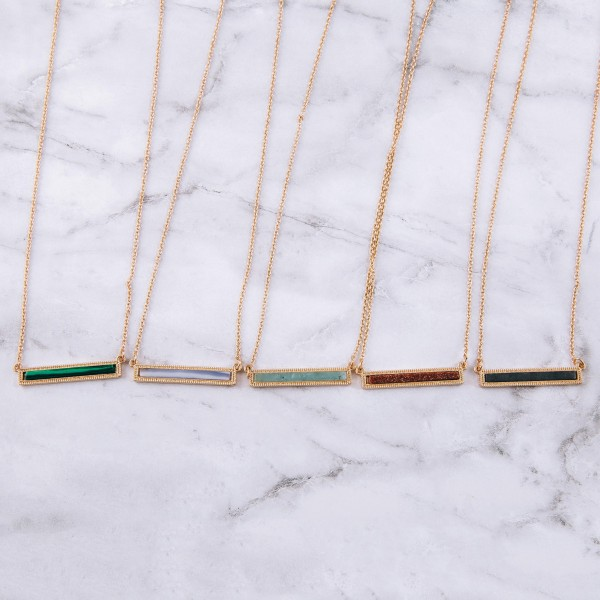 """Natural stone bar pendant necklace.  - Pendant approximately 1.5"""" in length - Approximately 16"""" in length overall with 3.5"""" extender"""