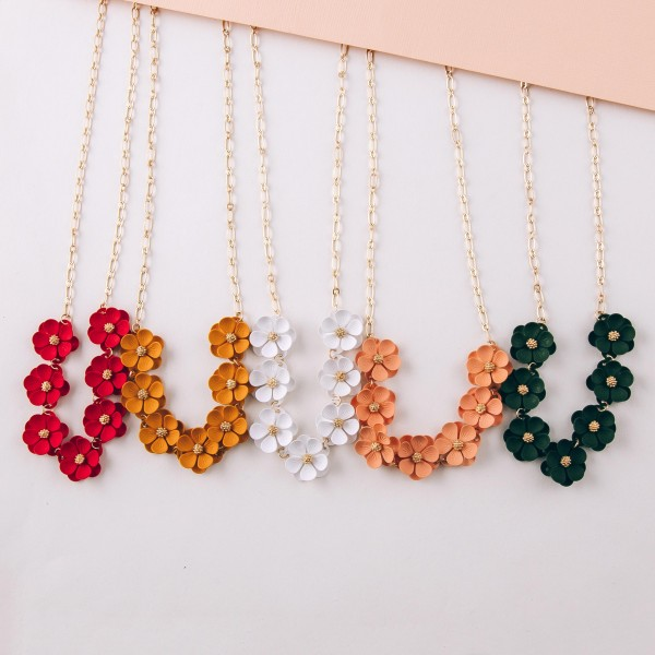 """Coated flower bib necklace.  - Approximately 16"""" in length with 3"""" extender"""