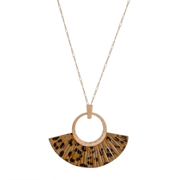 "Faux leather cowhide leopard print tassel pendant necklace.  - Pendant approximately 3"" in length - Approximately 36"" in length overall"