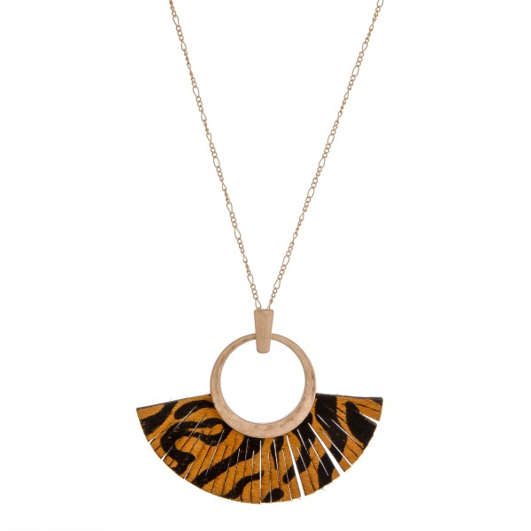 "Faux leather cowhide animal print tassel pendant necklace.  - Pendant approximately 3"" in length - Approximately 36"" in length overall"