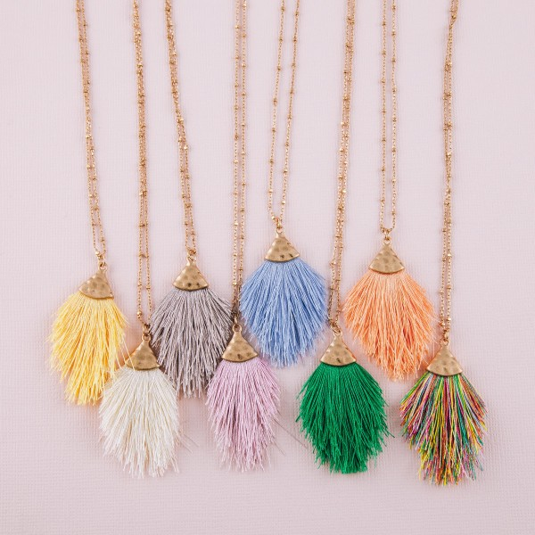 "Mini fringe tassel pendant necklace.  - Pendant approximately 2"" in length - Approximately 20"" in length overall with 3"" extender"
