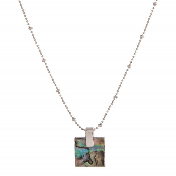 """Genuine resin Abalone pendant necklace.  - Pendant approximately .5"""" x .5""""  - Approximately 16"""" in length overall with 3"""" extender"""