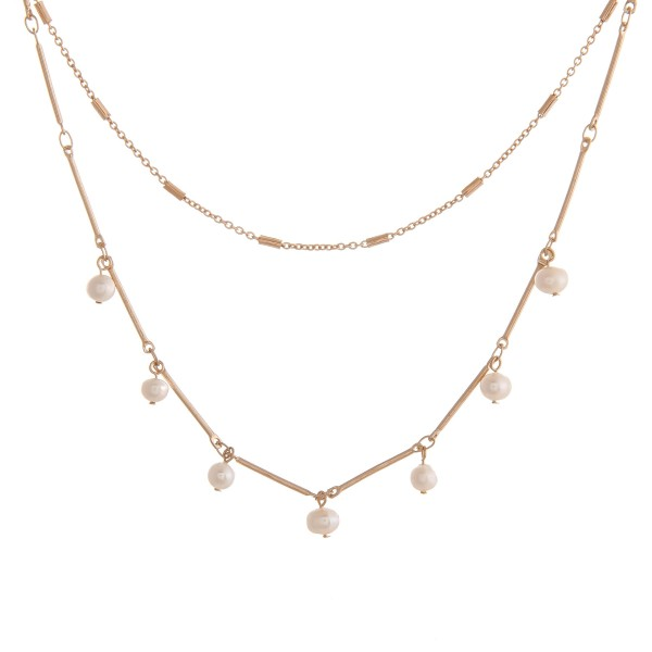 "Link bar layered freshwater pearl necklace.  - Approximately 16"" in length overall with 3"" extender"