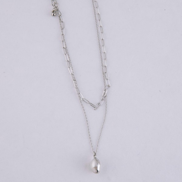 "Layered faux pearl necklace.  - Pendant approximately 1cm in size - Approximately 16"" in length overall with 3"" extender"