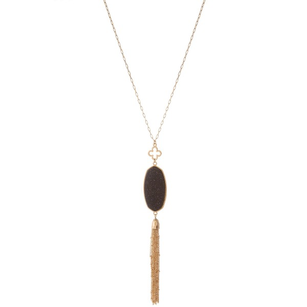 "Long semi precious metal tassel pendant necklace with clover accent.  - Pendant approximately 5.5""  - Approximately 38"" L with 3"" extender"