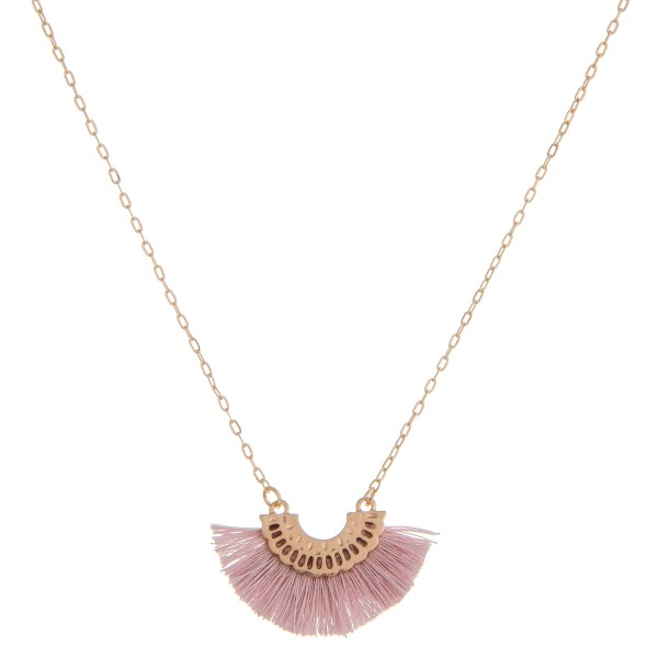 "Small fringe tassel pendant necklace.  - Pendant approximately 1.5"" in length - Approximately 16"" in length overall with 3"" extender"