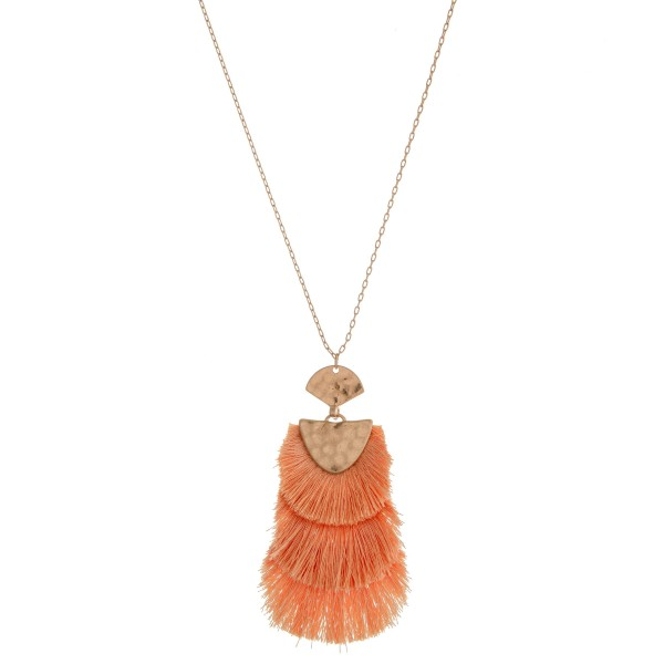 "Long hammered hinge fringe tassel pendant necklace.  - Pendant approximately 3.5"" in length - Approximately 38"" in length overall with 3"" extender"