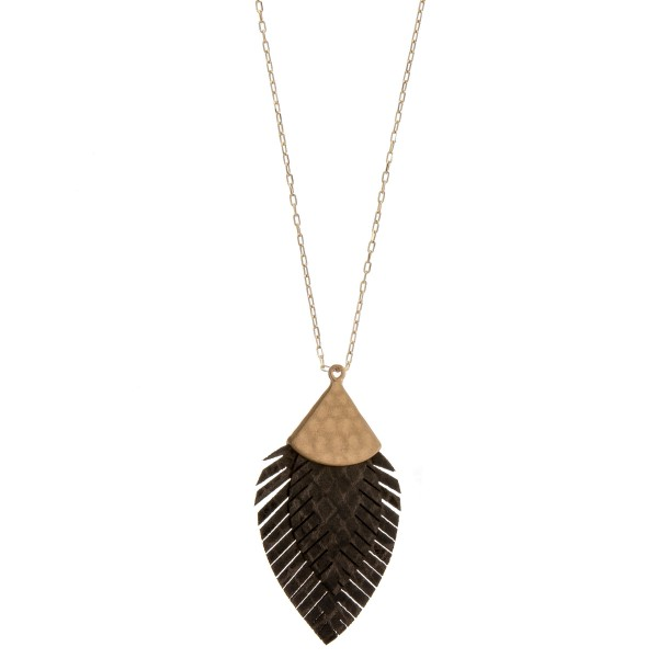 Wholesale long doubled faux leather snakeskin feather pendant necklace Pendant o