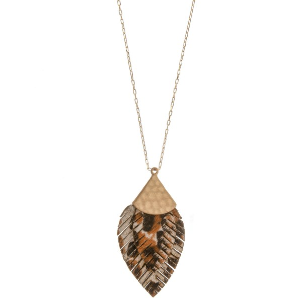 "Long doubled genuine leather leopard print feather pendant necklace.  - Pendant approximately 3.5"" in length - Approximately 36"" in length overall with 3"" extender"