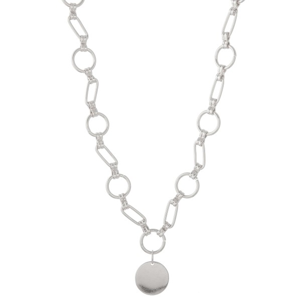 """Chunky circle gauge linked pendant necklace.  - Pendant approximately 1"""" in diameter - Monagrammable - Approximately 14"""" in length with 3"""" extender"""