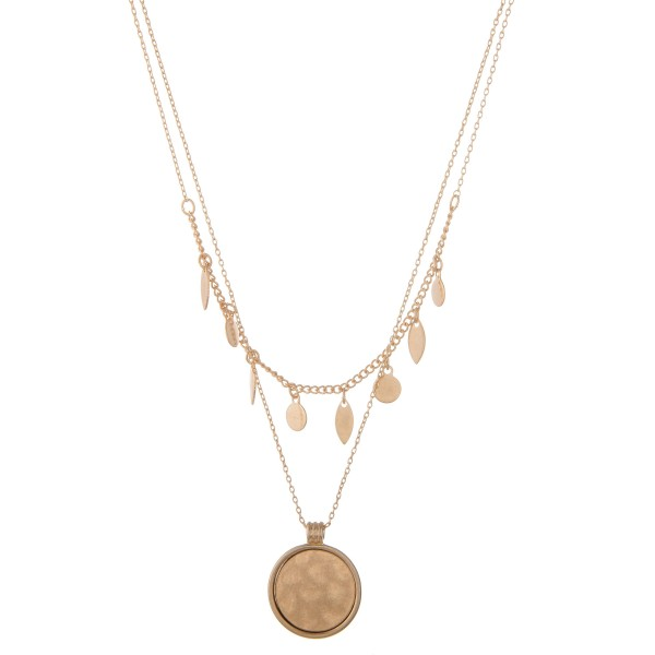 """Metal layered hammered pendant bohemian necklace.  - Pendant approximately 1"""" in diameter - Shortest layer approx. 12""""  - Approximately 16"""" in length overall with 3"""" extender"""
