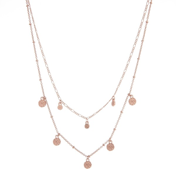 """Layered flower floater disc necklace.  - Shortest approximately 12"""" L  - Approximately 14"""" L overall  - 3.5"""" extender"""