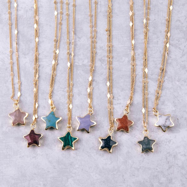 "Semi precious star pendant necklace.  - Pendant approximately .5"" in size - Approximately 18"" in length with 3.5"" extender"