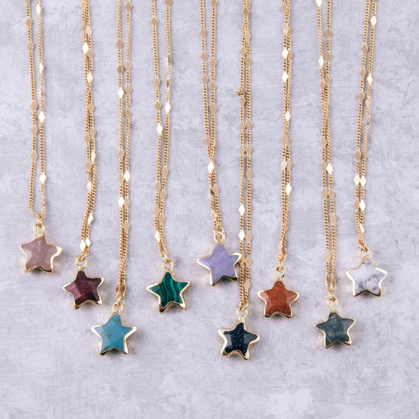 """Semi precious star pendant necklace.  - Pendant approximately .5"""" in size - Approximately 18"""" in length with 3.5"""" extender"""