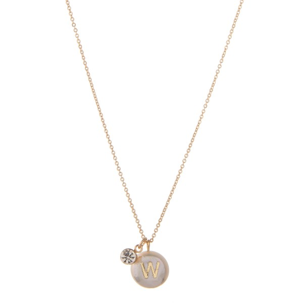 "Freshwater pearl initial W pendant necklace with rhinestone accent.  - Pendant approximately 1cm in diameter - Approximately 16"" in length with 3"" extender"