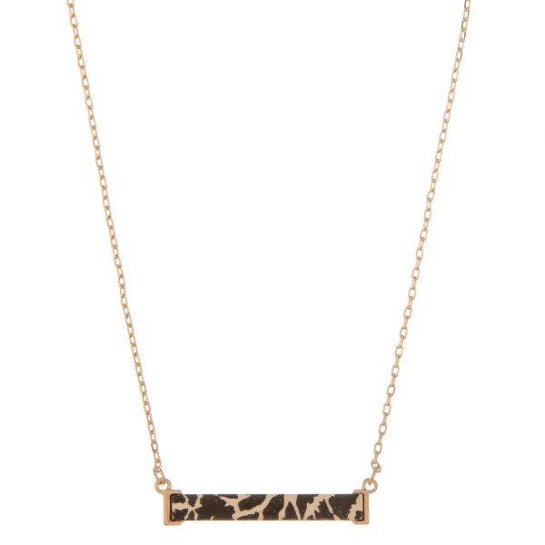 """Wooden animal print bar necklace.  - Pendant approximately 1.5""""  - Approximately 14"""" L  - 3"""" extender"""