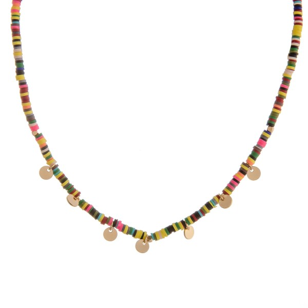 "Multicolor Polymer Clay spacer beaded necklace with gold disc accents.  - Approximately 14"" L  - 2"" extender"