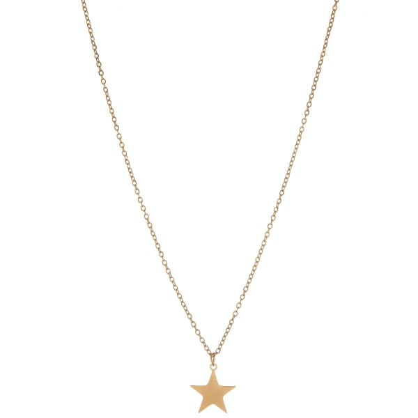 "Gold star pendant necklace.  - Pendant approximately .5  - Approximately 16"" L - 2.5"" extender"