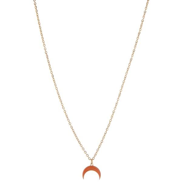 "Dainty shiny enamel coated crescent necklace.  - Pendant approximately 1cm - Approximately 16"" L - 2.5"" extender"