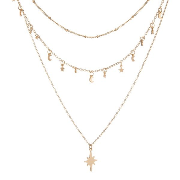 "North star star and moon layered necklace.  - Shortest layer approximately 12"" in length  - Approximately 18"" in length with 3"" extender"