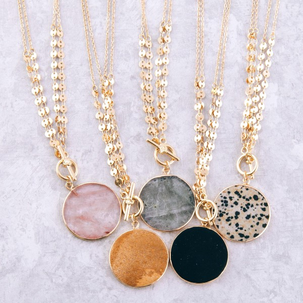 """Gold sequin disc layered semi precious toggle necklace.  - Toggle bar clasp - Pendant approximately 1.25"""" in diameter - Approximately 18"""" L"""