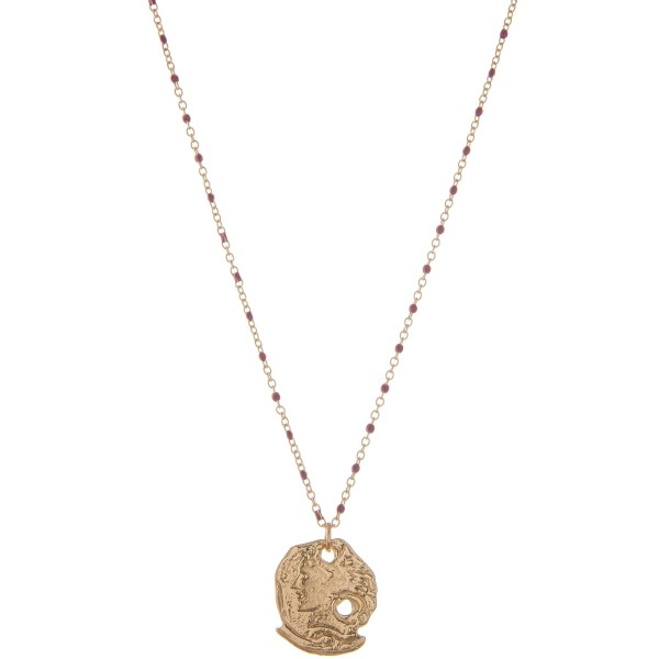"""Gold ancient greek coin necklace with enamel accents.  - Pendant approximately 1"""" in diameter - Approximately 16"""" L  - 3"""" extender"""