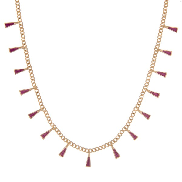 """Short curb link enamel coated triangle floater necklace.  - Approximately 15"""" L - 3.5"""" extender"""