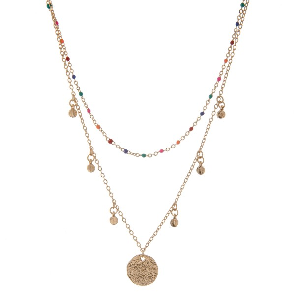 "Gold layered disc necklace with multicolor enamel coated accents.  - Shortest layer approximately 13""  - Approximately 16"" L overall  - 3"" extender"
