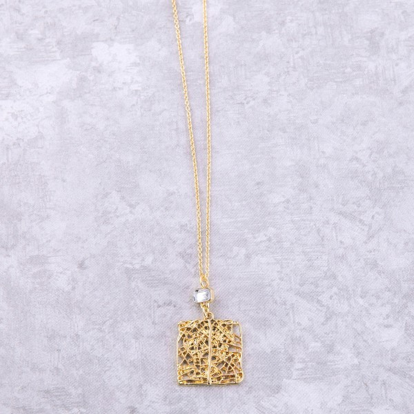 """Gold filigree nugget necklace with rhinestone accent.  - Pendant approximately 1"""" - Approximately 20"""" L  - 3"""" extender"""