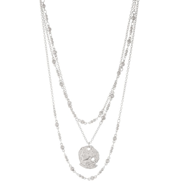 """Metal ancient greek coin layered necklace.  - Pendant approximately 1"""" in diameter - Approximately 18"""" L  - 3"""" extender"""