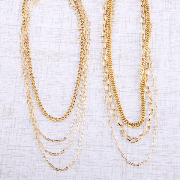 "Curb chain link layered necklace.  - Shortest layer approximately 12"" L - Approximately 16"" L overall - 3"" extender"