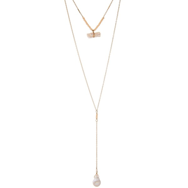 "Long gold layered champagne pearl necklace.  - Shortest layer approximately 14"" in length - Approximately 30"" in length overall with 3"" extender"