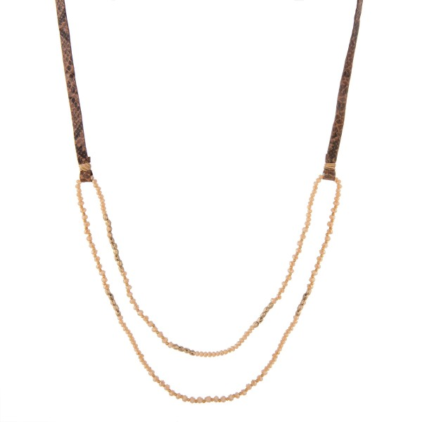 """Faux leather snakeskin beaded necklace.  - Approximately 32"""" in length with 3"""" extender"""