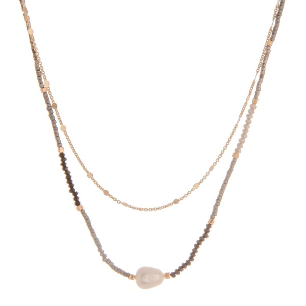 "Dainty seed beaded layered pearl necklace.  - Approximately 14"" in length with 3.5"" extender"