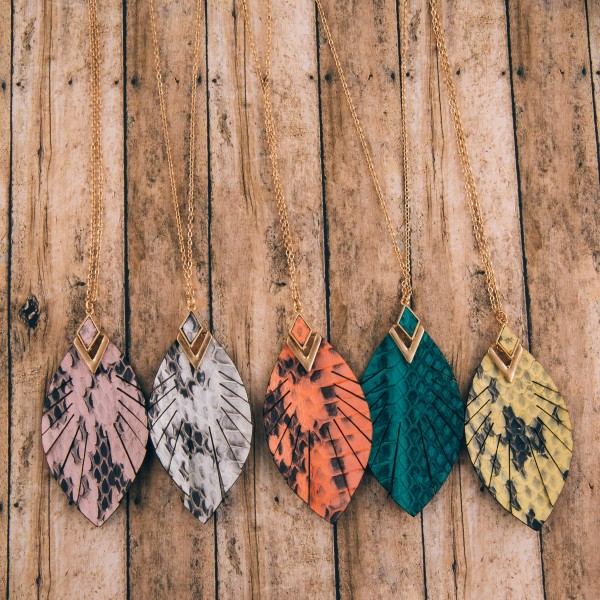 """Long genuine leather snakeskin feather pendant necklace.  - Pendant approximately 2.75"""" in length - Approximately 36"""" in length overall with 3"""" extender"""