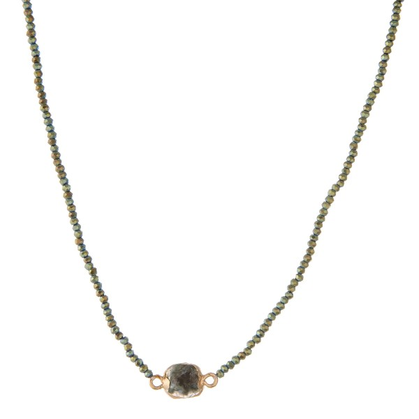"""Beaded necklace with dainty agate pendant.  - Pendant shape varies  - Pendant approximately 1cm in size - Approximately 14"""" in length overall with 4"""" extender"""