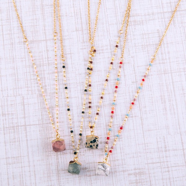 """Dainty seed beaded natural stone pendant necklace.  - Pendant approximately 1cm in diameter - Approximately 14.5"""" in length overall with 3.5"""" extender"""