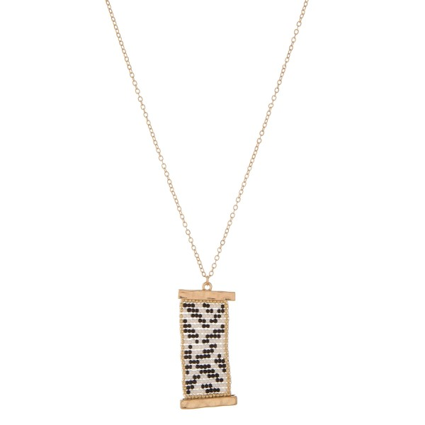 "Long gold seed beaded tribal loom pendant necklace.  - Pendant approximately 2"" in length - Approximately 34"" in length overall with 3"" extender"