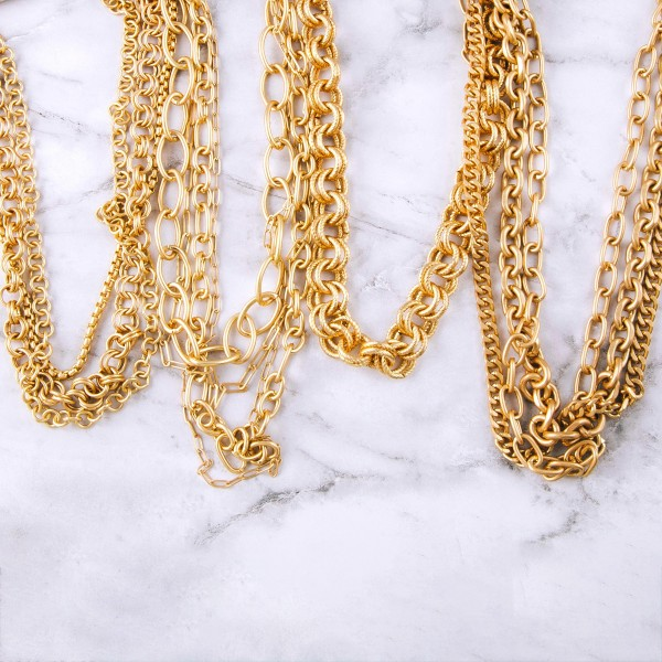 "Chunky gold layered chain linked necklace.  - Approximately 16"" in length with 3"" extender"
