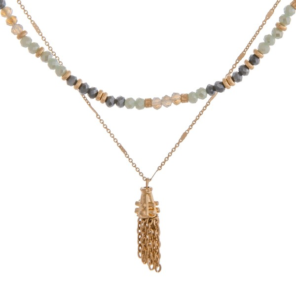 "Beaded layered metal tassel bohemian necklace.  - Shortest layer approximately 14"" in length  - Approximately 16"" in length overall with 3"" extender"