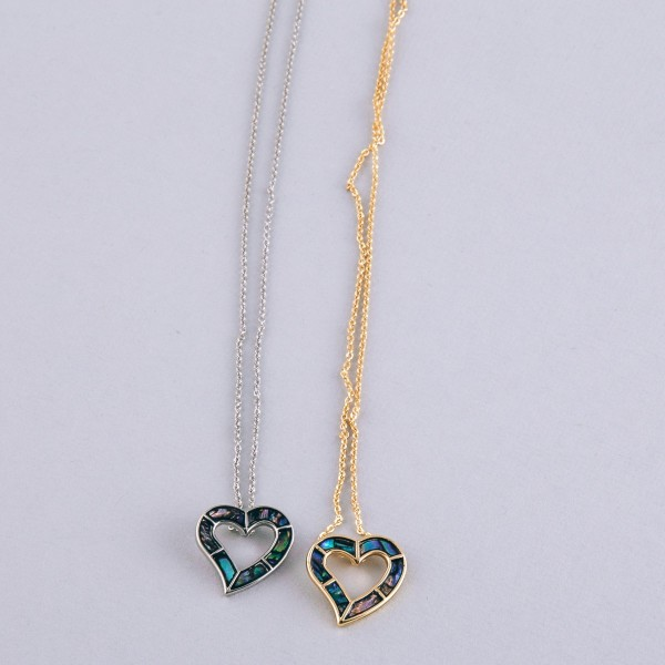 """Abalone open heart pendant necklace.  - Pendant approximately .75""""  - Approximately 18"""" in length with 2.5"""" extender"""