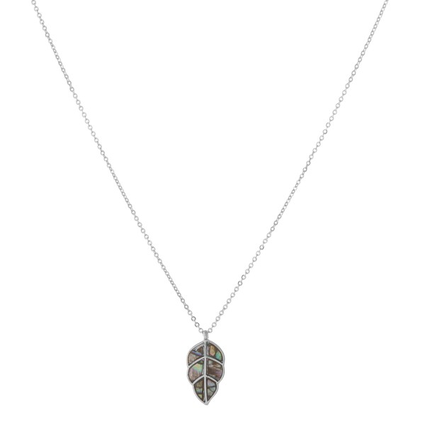 """Silver genuine abalone leaf pendant necklace.  - Pendant approximately .75""""  - Approximately 18"""" in length with 3"""" extender"""