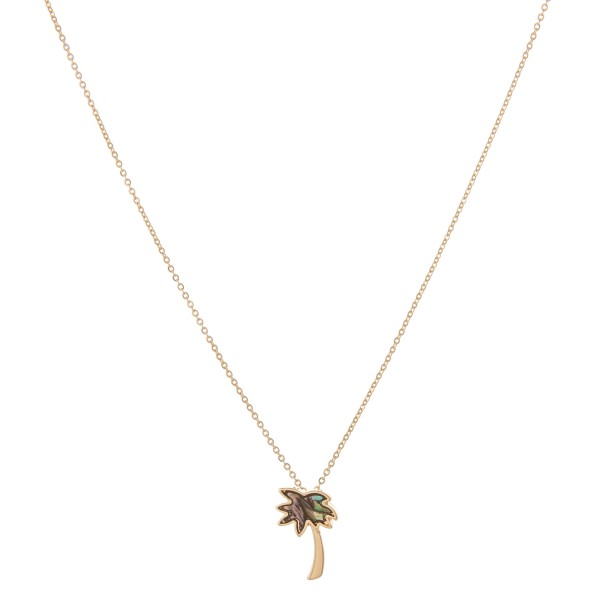 """Gold abalone palm tree pendant necklace.  - Pendant approximately .75""""  - Approximately 18"""" in length with 2.5"""" extender"""