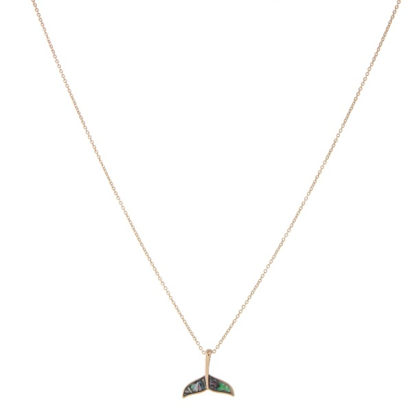 """Gold genuine abalone fluke pendant necklace.  - Pendant approximately .75"""" - Approximately 18"""" in length with 3"""" extender"""