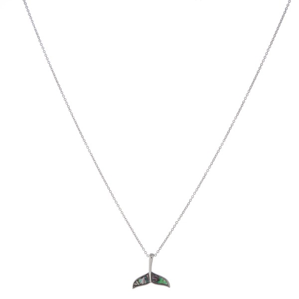 """Silver abalone fluke pendant necklace.  - Pendant approximately .75""""  - Approximately 18"""" in length with 3"""" extender"""