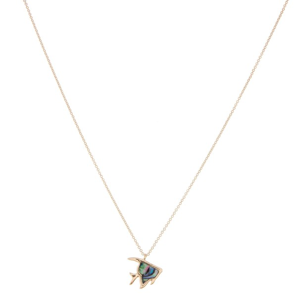 """Gold genuine abalone fish pendant necklace. - Pendant approximately .5"""" - Approximately 18"""" in length with 2.5"""" extender"""