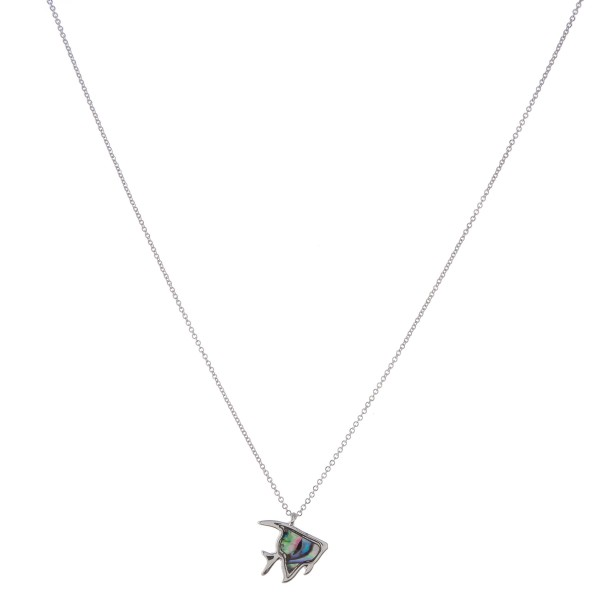 """Silver genuine abalone fish pendant necklace.  - Pendant approximately .5""""  - Approximately 18"""" in length with 3"""" extender"""