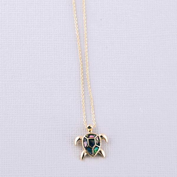 """Abalone sea turtle pendant necklace.  - Pendant approximately .5"""" - Approximately 18"""" L - 3"""" extender"""