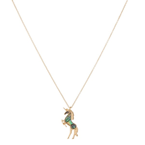 """Gold abalone unicorn pendant necklace.  - Pendant approximately 1""""  - Approximately 18"""" in length with 2.5"""" extender"""