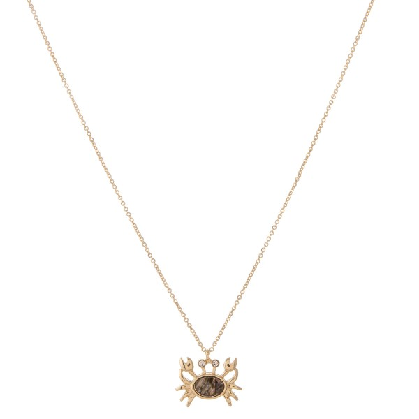 """Gold abalone crab pendant necklace.  - Pendant approximately .75""""  - Approximately 18"""" in length with 2.5"""" extender"""